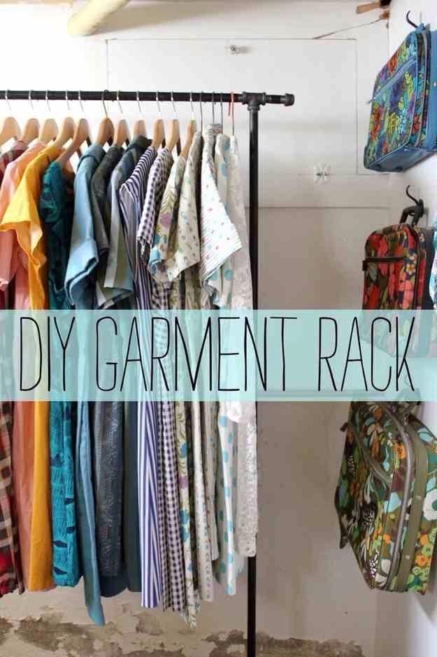 Make your own garment rack with steel pipes.http://abeautifulmess.typepad.com/my_weblog/2012/04/garment-rack-diy-.html