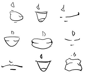 These are ways you could draw her nose and mouth.
