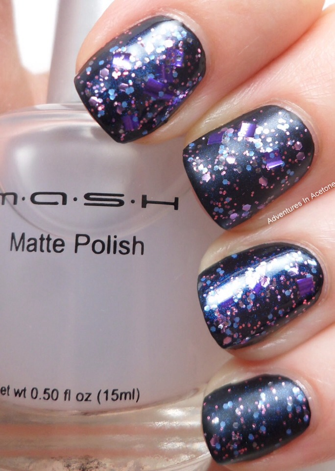 You can put you matte top coat before your glitter polish to let it shine!