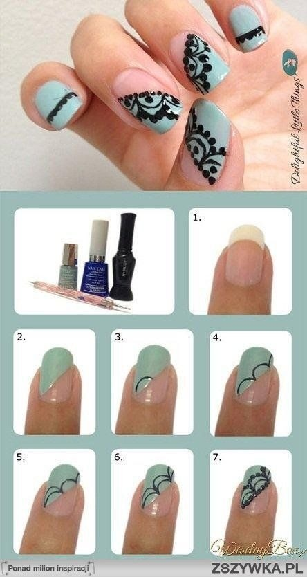 10. Lace-inspired Nails You can create lace with black polish by yourself.