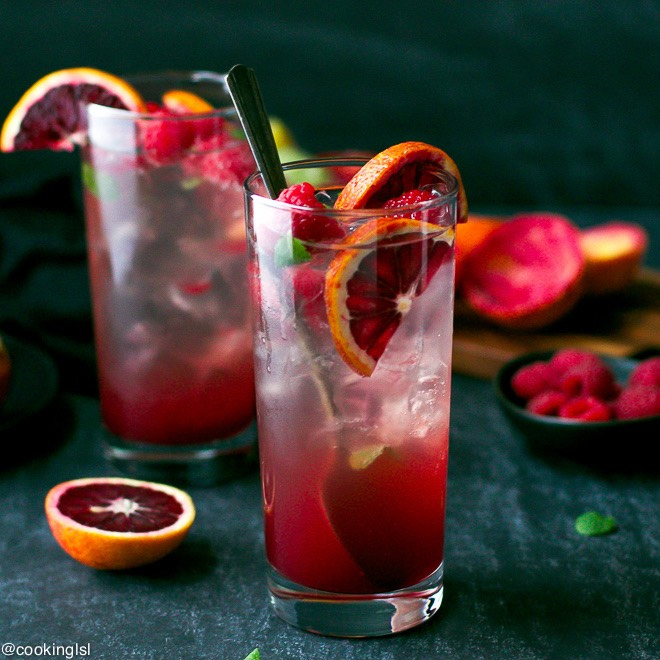 A yummy Blood Orange Mojito made with white rum