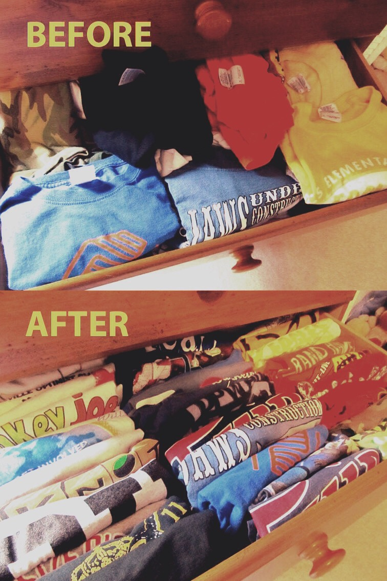 Here's a before and after image. No more cluttered or messy unorganized dressers!