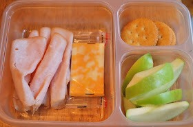 turkey, cheese, crackers, apple