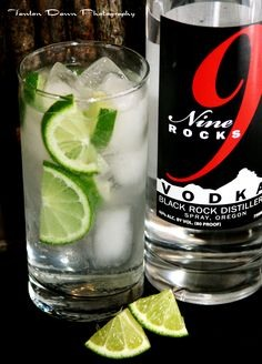 A TOP SHELF VODKA! Either or since both are pretty much clear and less likely to cause hangovers! This drink is made with one of the best new vodkas, 9 Rocks, with water and some limes on the rocks (ice). MAKE SURE mixed drinks are on the rocks--the water will extend the time you drink slowly!