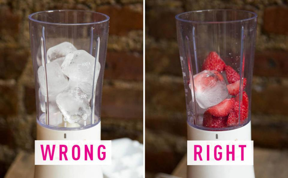 16. You add ice to your smoothie. Ice adds calorie-free bulk to smoothies and creates the illusion of a larger serving. But it can also make a fruity shake taste watery. Use frozen fruit and just a few ice cubes to get the best of both worlds.