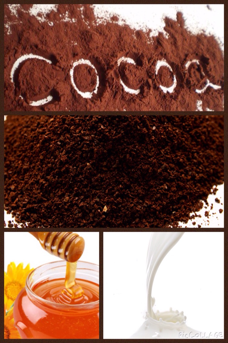 Ingredients: 2 tbsp of ground coffee  2 tbsp of cocoa powder  3 tbsp of milk 1 tbsp of honey