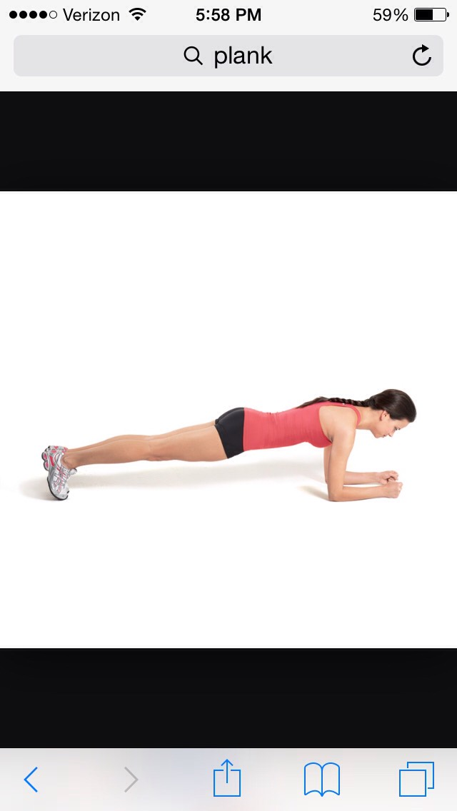 Planks are very good for your back and core muscles. When you do a plank, you don't want your bottom to look like a mountain and you don't want your back to sag in, so pick an appropriate amount of time. I would usually do about 45 seconds- 1 minute.