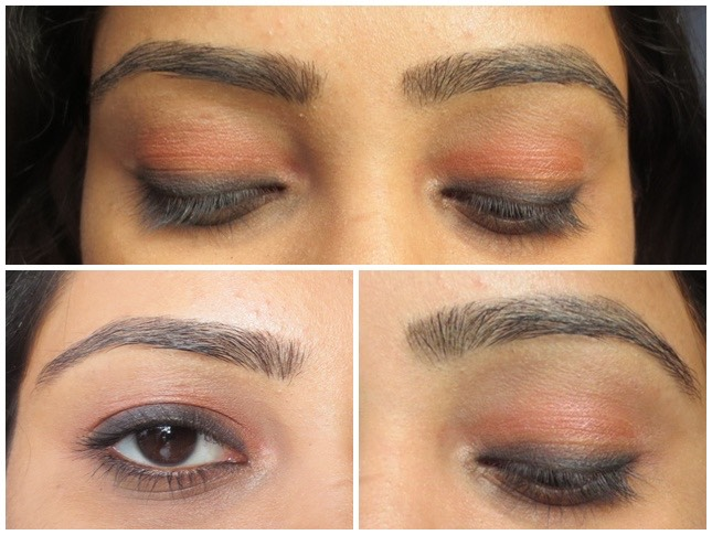 Apply think line of liner on top and bottom lash line; blend and buff with a small blending brush.