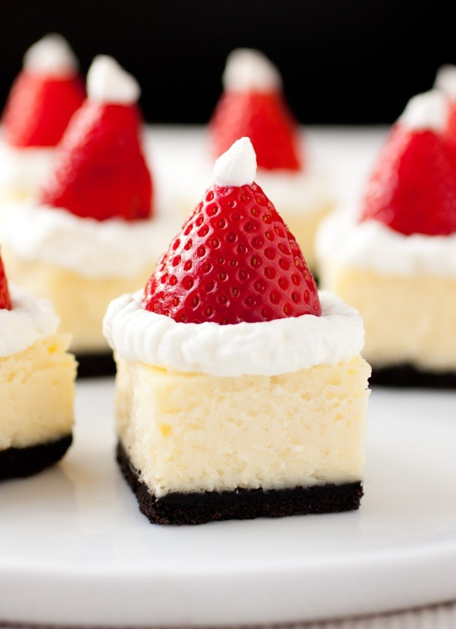 http://www.cookingclassy.com/2012/12/santa-hat-cheesecake-bites/