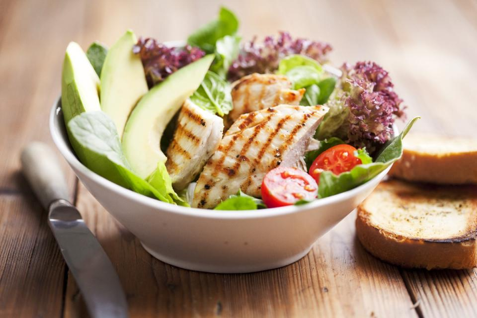 1. Grilled Chicken and Corn Salad with Avocado and Parmesan