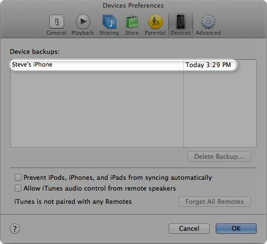 Step 3)  Once in iTunes, look on the top of the screen to find the file button.   Click file>devices> back up