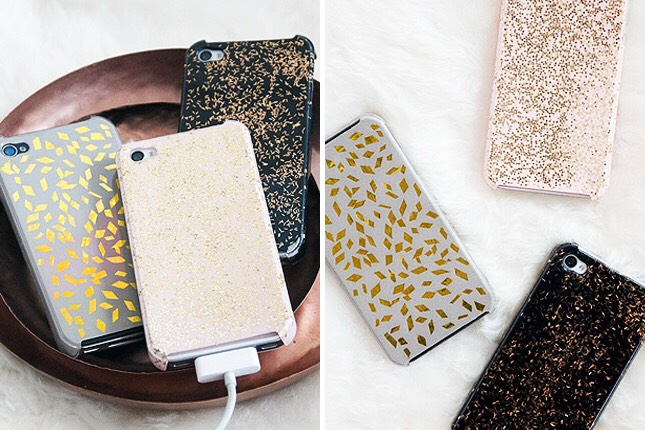5. Repurposed Glitz Cases: Rolling in extra tinsel and glitter from a recent birthday party or late night dance party? Put that glitz to good use with a little Mod Podge and your phone.