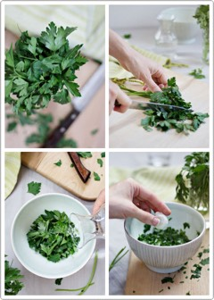 TO MAKE |  Roughly chop handful of parsley. In a small bowl, grind leaves with wooden spoon. You want to grind the parsley until it releases the juice in its leaves. Pour a tbsp of hot water over parsley + stir mixture together. You can also combine the parsley with yogurt. When water has cooled, use 2 cottonballs to soak up juice. Lie down + keep cottonball under eyes for 10min. Do this 2x/week. The effects aren't immediate; may take a couple weeks to see changes.
