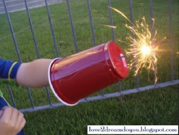 Use a plastic cup as a safety shield for sparklers.