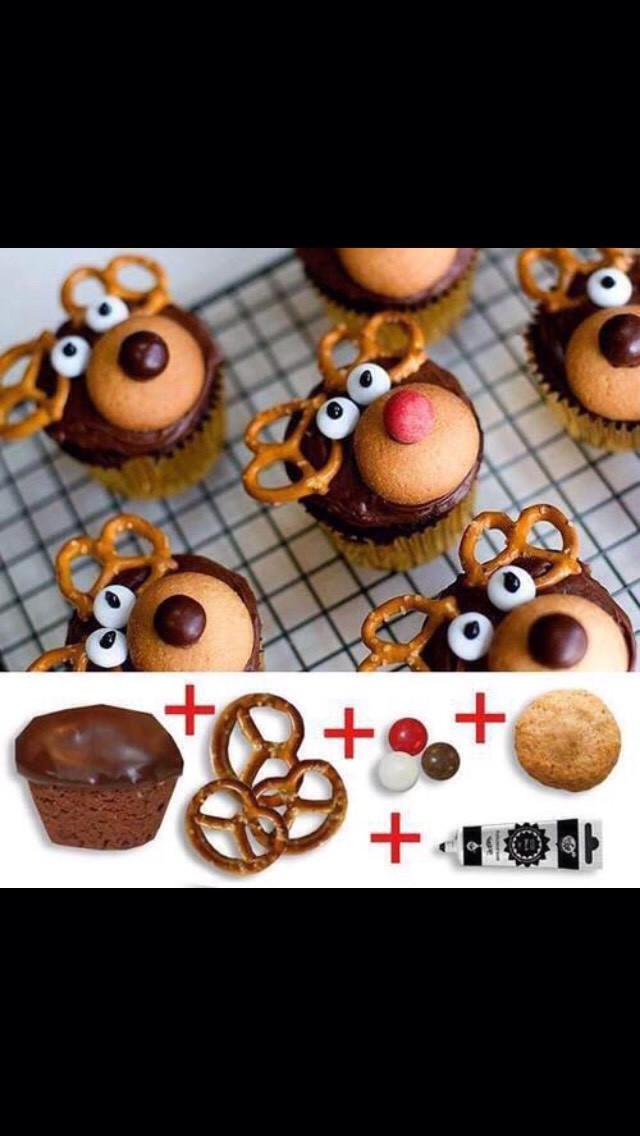 What better way to hop into Christmas spirit than to make beautiful cupcakes like this!? Do it with the kids!