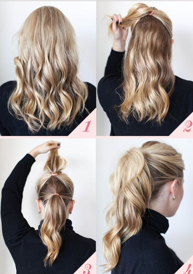 Just make sure to wave or curl your hair and blend the two ponytails together!!