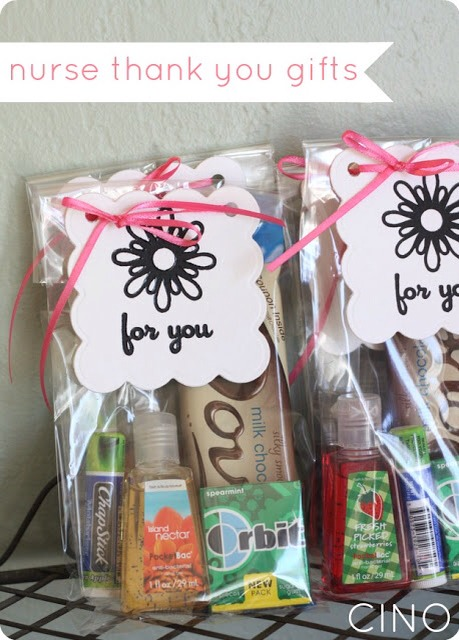 In these little nurse thank you gifts there is gum, hand sanitizer, Chapstick & chocolate bar you can add whatever you like this is just an idea :)