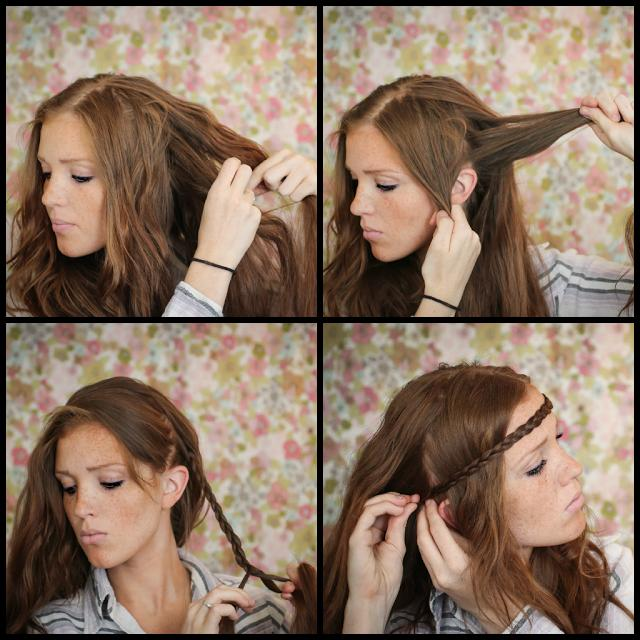 Start with wavy, 'day old' hair that will have grip and texture. Grab a 2 1/2 inch circle section from right behind and above your left ear. Swing the rest of your hair over your head and out of the way, and braid your section tightly to the end. Tie off with a hair tie
