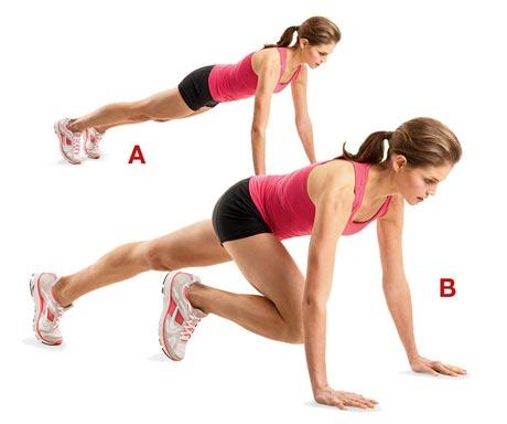 Mountain Climbers  Target: Cardio + chest + shoulders Reps: 30-60 secs; rapid succession   >Start: plank position >Raise one knee up, bent towards your chest >Jump and switch legs while you're still in the air