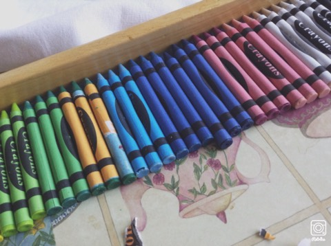 Take your crayons and choose which colours you would like. You can mix colours or have layers of different ones!