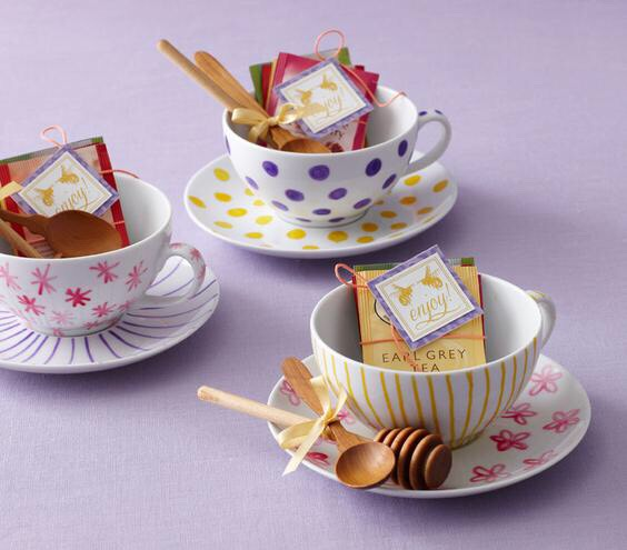 Add some elegance with teacup. Add a tea and matching spoon in there as well