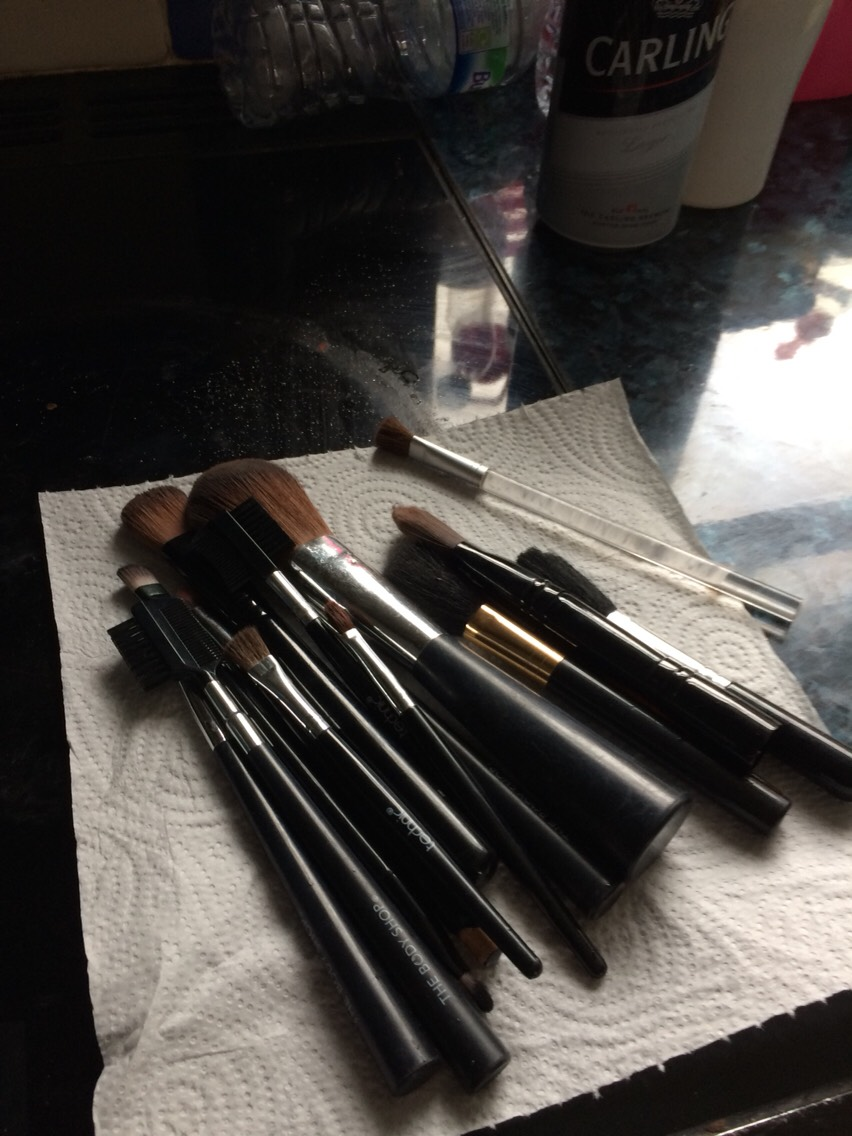 Next collect all of your makeup brushes together.