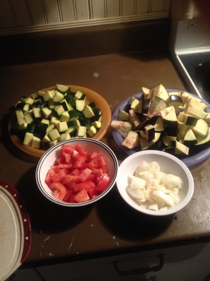 - Cut eggplant tomato and ognion the same way