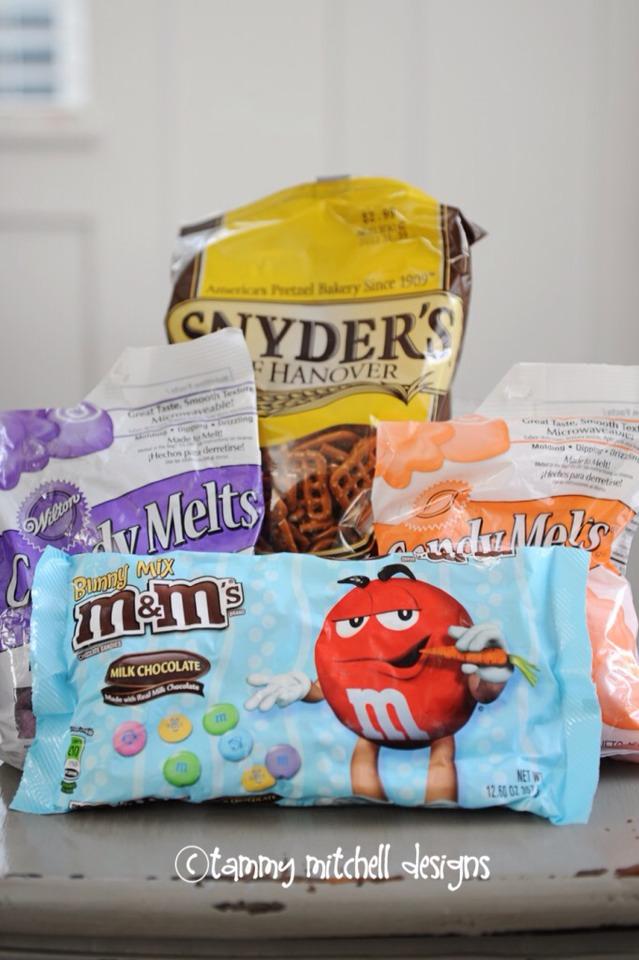 INGREDIENTS  1 bag Hershey's Hugs  1 bag of square shaped pretzels  1 bag of M&M candies (preferably easter color)