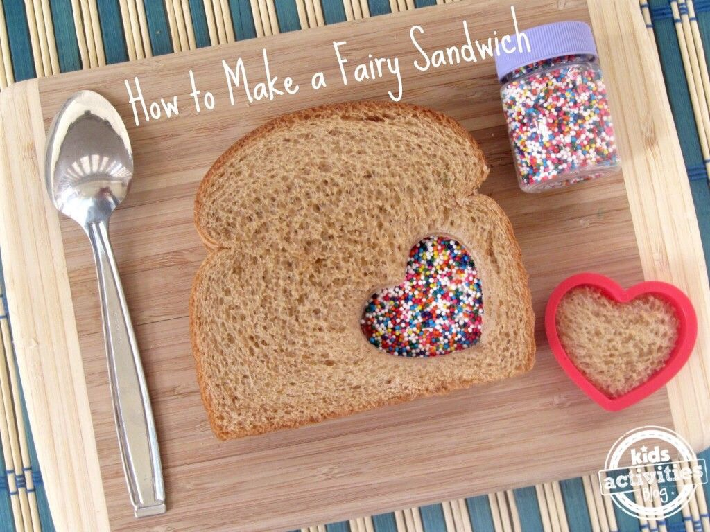 Cover one piece of bread with peanut butter then the other bread use a cookie-cutter to cut out a shape connect the breads together then sprinkle sprinkles in the shape hole and stick them to the peanut butter