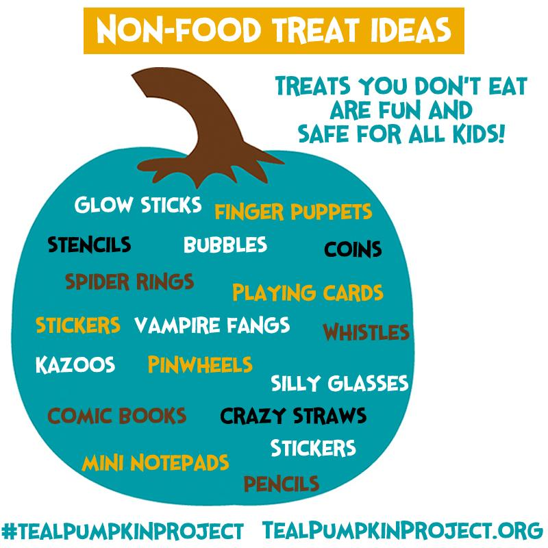 Virtually any food can cause an allergic reaction. Handing out non-food treats on Halloween keeps kids safe and included in the fun!