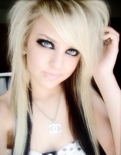 teased hair is the most common thing to do with an emo style