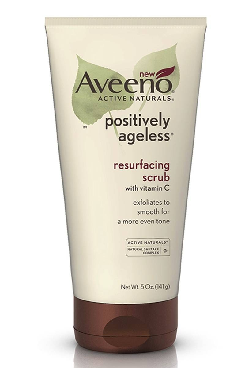 If your skin is normal  Apply an oil-free scrub—like Aveeno Positively Ageless Resurfacing Scrub ($9.99)—at least three times a week. Its tiny microbeads make it gentle enough to use every other night.