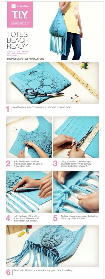 9. DIY no-sew tshirt beach tote