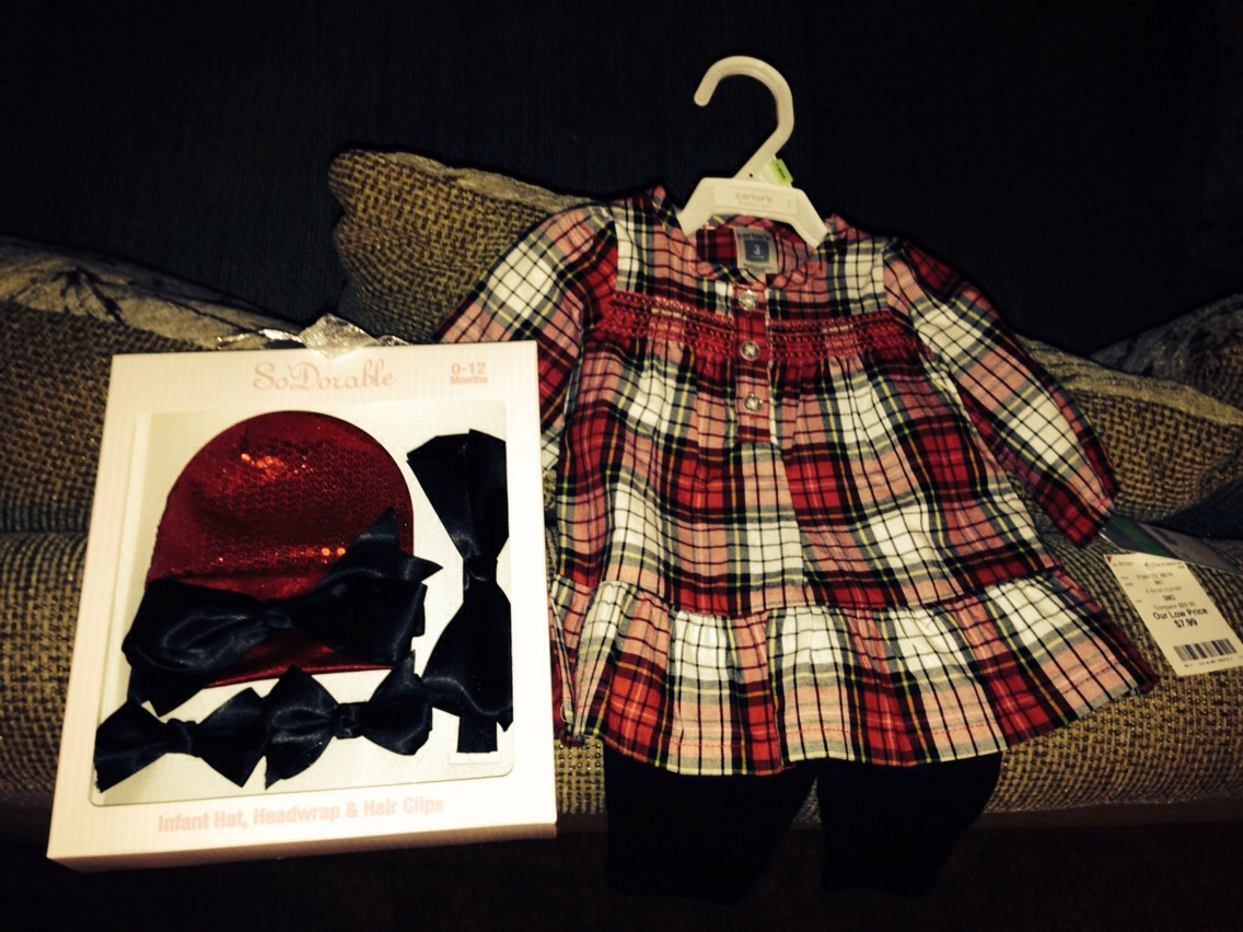 Cute Christmas outfit for 5.99. And hat and head band set for 4.99.