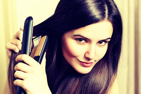 Straighten hair now after your face is done add heat protectant spray is a good idea