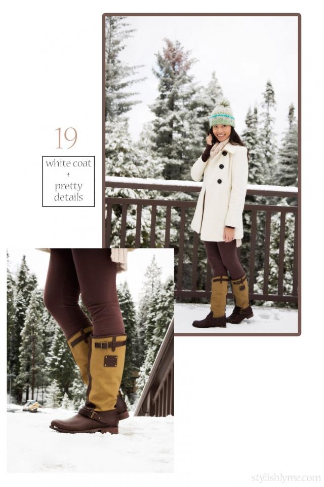 Pair rugged boots with pretty clothing  A rugged outdoor terrain calls for boots that can handle the storm. Even though the top half of this snow outfit is cute the bottom half is snow proof.