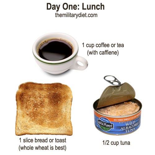 Substitute  Coffee: caffeinated tea  Bread: 1/8 c sunflower seeds, 1/2 c whole grain cereal, 1/2 high protein bar, 1 tortilla or 2 rice cakes   Tuna: piece of grilled sushi grade tuna, cottage cheese, chicken, tofu, almonds or peanuts, very lean meat but fish is preferable