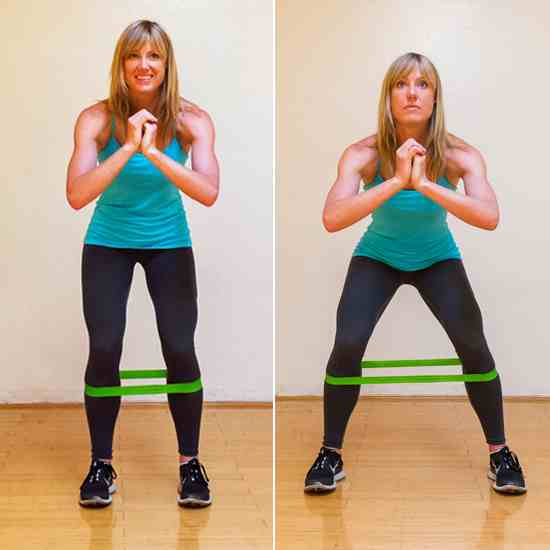 Squat walks w/ resistance bands  1 minute