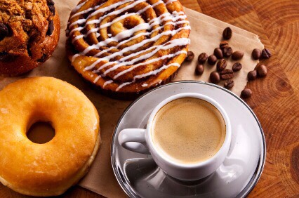 6. Coffee Can Actually Cause Weight Gain  The blood sugar fluctuations that a caffeine high produces can contribute enormously to cravings, according to iVillage. Coffee is also socially connected to food. For example, we pair coffee with dessert or that morning powdered doughnut.