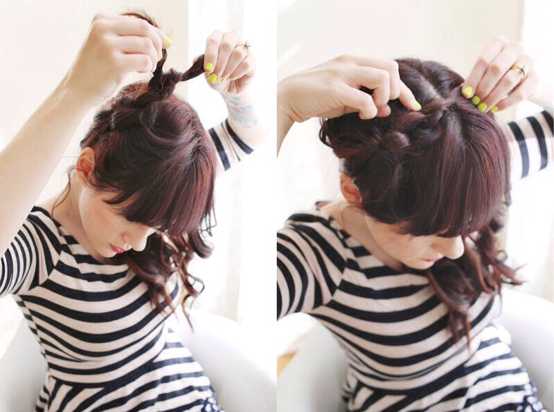 Before you pin, use your fingers to loosen each knot. Secure with as many bobby pins as needed. I don't use any hairspray, but if you have finer hair it might be a good idea. :) That's it!