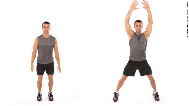 Finish with 1 minute of jumping jacks.