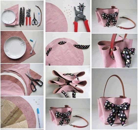 For step 3, takea piece of newspaper that is the same size as your cut leather/fabric and place it on top of the leather. Once on top, circle onthe newspaper the areas where you will be making your holes in order to add the bow to the bag