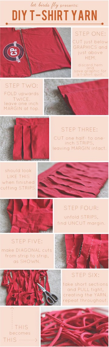 3. How to make fabric yarn with old tees