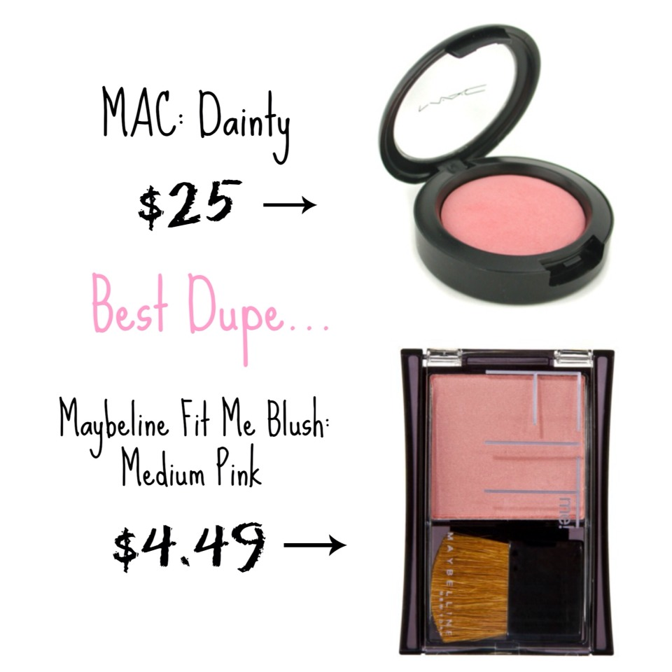 This is a good one! The mac blush is €25 whereas the maybeline one is only €5! You're saving €20! 💕 that's a lot of money! And the two blushes are identical 💕