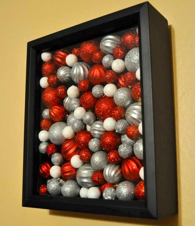 Get a shadow box and fill it with ornaments :). Easy, classy, and affordable decoration!!