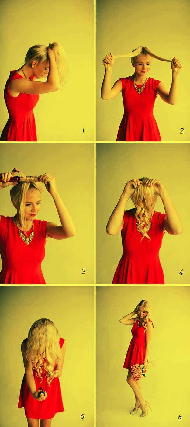 1..For quick curls, put your hair in a ponytail first and divide and conquer.