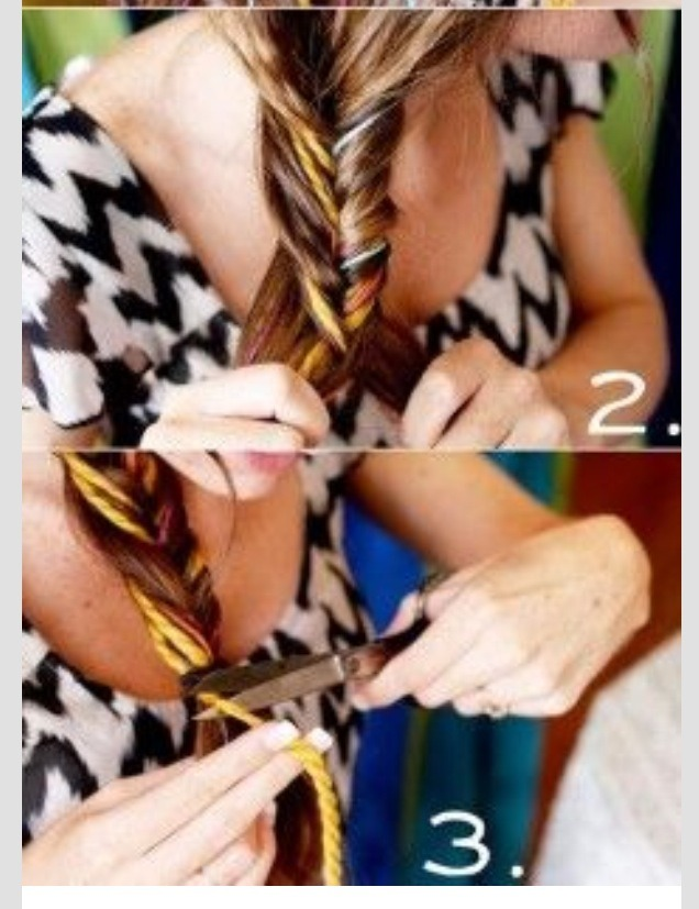 Braid hair, cut the long strands of yarn that don't match up to the length of your own hair. You know have a easy funky hair at lye.