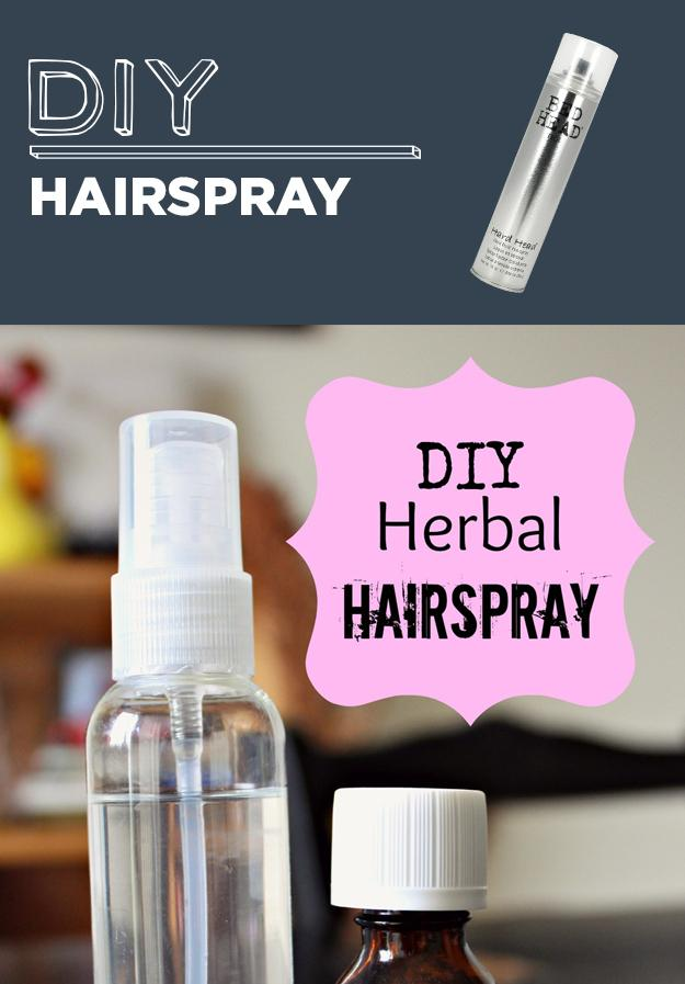 18. DIY Hairspray  DIY NATURAL HERBAL HAIRSPRAY  1 cup hot water 1 1/2 Tbs Sugar (White or Brown) 10-15 drops essential oil- orange, lemon, mint, rosemary (promotes hair growth), or any essential oil you like. You can use one or blend them. My favorite is lemon or orange. Fine mist spray bottle
