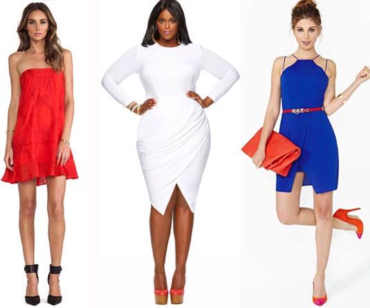 Red Strapless Dress, FOR LOVE & LEMONS, $158; White Asymmetric Wrap Dress, MONIF C., $168; Blue Dress, NASTY GAL, $58