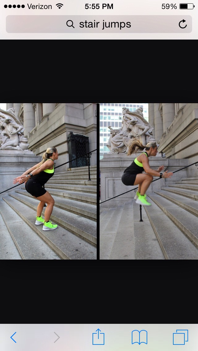 Next is stair jumps. You start at the bottom and can go up one stair and down one stair or keep going up the stairs. You're going to want to do about 10 of these.